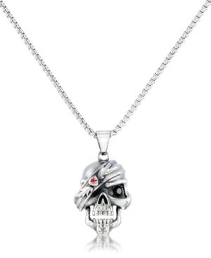 "Men's Cubic Zirconia Pirate Skull 24"" Pendant Necklace in Stainless Steel"