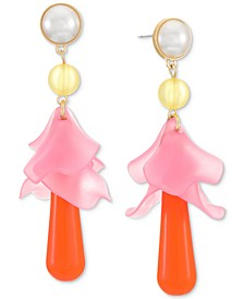 INC Gold-Tone Imitation Pearl & Shaky Flower Statement Earrings, Created for Macy's