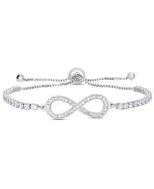 Cubic Zirconia Infinity Adjustable Bolo Bracelet In Fine Silver Plate
