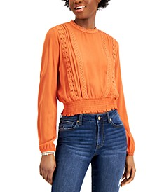 Juniors' Lace-Trim Smocked-Waist Top