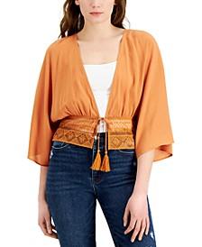 Juniors' Crochet-Hem Tie-Front Kimono Top