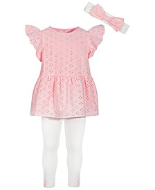 Toddler Girls 3-Pc. Eyelet Tunic, Leggings & Headband Set, Created for Macy's