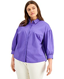 Plus Size 3/4-Sleeve Shirt, Created for Macy's