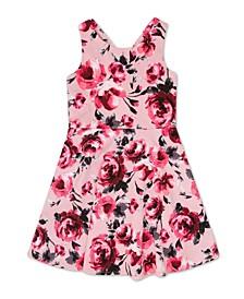 Big Girl Velvet Bodice Floral Dress