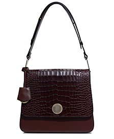 Porter Street Shoulder Bag In Croc Embossed Leather