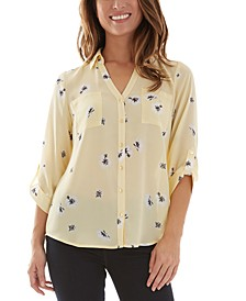 Juniors' Collared Floral Button-Up Blouse