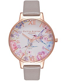 Women's Painterly Prints Gray Leather Strap Watch 34mm