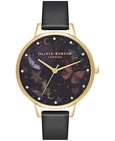 Olivia Burtron Women's Night Garden Black Leather Strap Watch 30mm