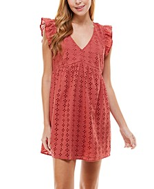 Juniors' Ruffled Eyelet Dress