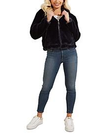 Hooded Faux-Fur Teddy Zip-Front Jacket
