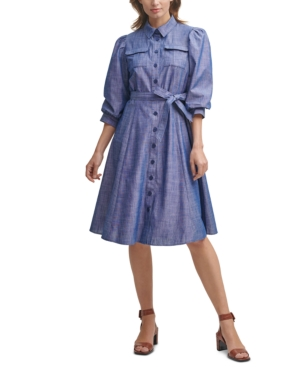 Vintage Shirtwaist Dress History Calvin Klein Cotton Chambray Midi Shirtdress $129.00 AT vintagedancer.com