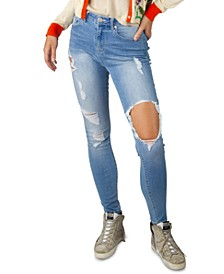 Juniors' High Rise Destructed Skinny Jeans