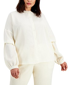 Plus Size Blouson-Sleeve Shirt, Created for Macy's