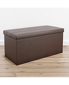Foldable Rectangle Storage Ottoman with Channel Tufting