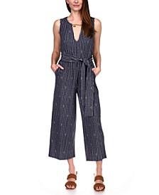 Striped Chain-Trim Jumpsuit, Regular & Petite