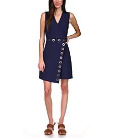 Grommet-Trim Faux-Wrap Dress