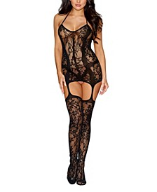 Women's Fishnet Halter Garter Dress with Attached Thigh High Stockings