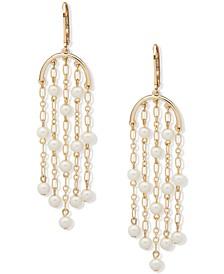 Gold-Tone Chain & Imitation Pearl Chandelier Earrings