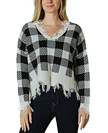 Distressed Plaid V-Neck Sweater