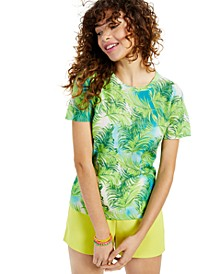 Cashmere Tropical Print Short-Sleeve Crewneck Sweater, Created for Macy's