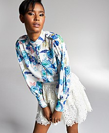 Misa Hylton for INC Stand Collar Woven Blouse, In Regular & Extended Sizes, Created for Macy's