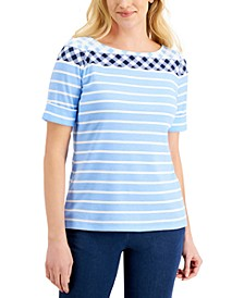Striped Gingham Elbow-Sleeve Top, Created for Macy's