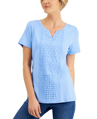 Eyelet-Embroidered Split-Neck Top, Created for Macy's
