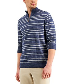 Men's Low Tide Striped Quarter-Zip Sweater, Created for Macy's
