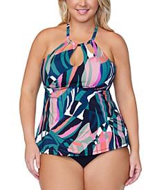 Trendy Plus Size Printed Tankini Top & Bottoms