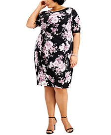 Plus Size Floral-Print Side-Ruched Sheath Dress