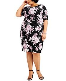 Plus Size Floral-Print Side-Ruched Sheath Dress