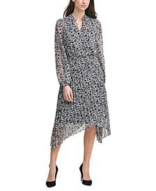 Chiffon Tie-Neck Midi Dress