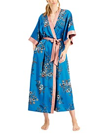 INC Floral-Print Robe & Slip Dress Nightgown, Created for Macy's