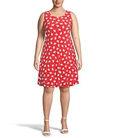 Plus Size Poppy-Print Fit & Flare Dress