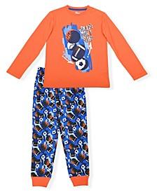 Big Boys Sport Print 2 Piece Pajama Set with Cozy Socks