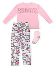 Big Girls Floral Print 2 Piece Pajama Set with Cozy Socks