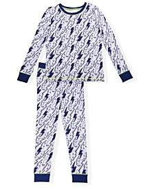 Little Boys Lightning Print Tight Fit Pajama Set, 2 Piece