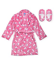 Big Girls Unicorn Print Flannel Fleece Robe with Matching Slippers