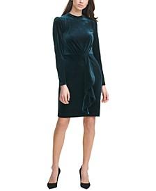 Velvet Mock-Neck Sheath Dress