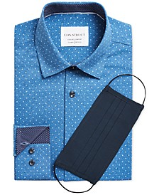 Con.Struct Men's Slim-Fit Cooling Comfort Performance Stretch Dot-Print Dress Shirt with Pleated Face Mask, Created for Macy's