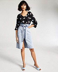 Floral-Print Flounce-Sleeve Top, Created for Macy's