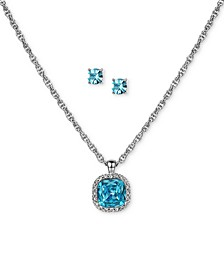 Silver-Tone Pavé & Colored Crystal Pendant Necklace & Stud Earrings Set, Created for Macy's