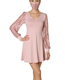 Juniors' Lace-Sleeve Mini Dress With Face Mask