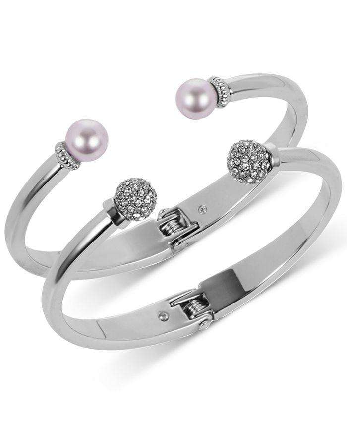 Charter Club - 2-Pc. Set Pavé Bead & Imitation Pearl Cuff Bracelets