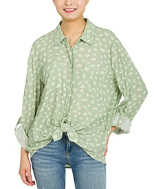 Juniors' Oversized Tie-Front Shirt
