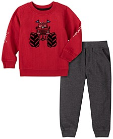 Toddler Boys 2-Piece Heathered Monster Truck Fleece Top with Fleece Pant Set