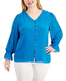 Plus Size Solid V-Neck Button-Front Top
