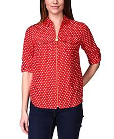 Dot-Print Zip-Front Shirt