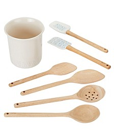Ayesha Collection Kitchen Cooking Utensil Set with Ceramic Tool Crock, French Vanilla