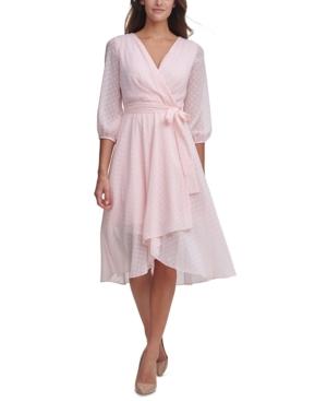 Tommy Hilfiger Dresses PETITE DOTTED CHIFFON WRAP DRESS